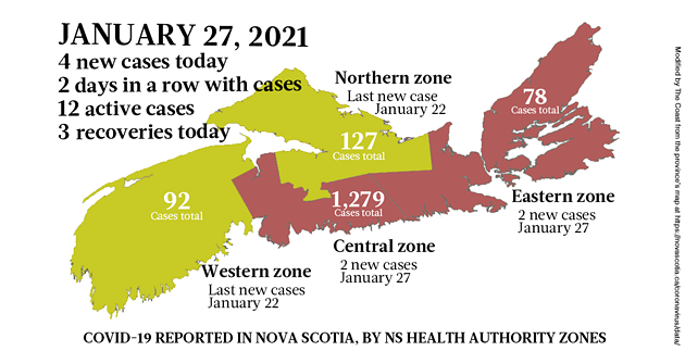 Map of COVID-19 cases reported in Nova Scotia as of January 27, 2021. Legend here. - THE COAST