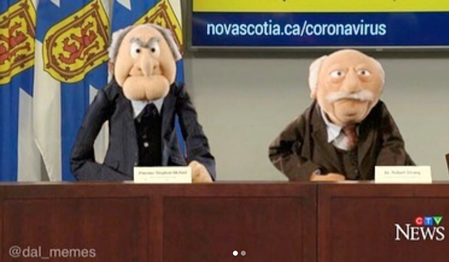 McNeil and Strang as Muppets Statler and Waldorf is the association that stuck to Nova Scotia's disease-fighting duo. - @DAL_MEMES