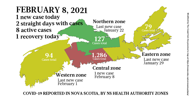 Map of COVID-19 cases reported in Nova Scotia as of February 8, 2021. Legend here. - THE COAST