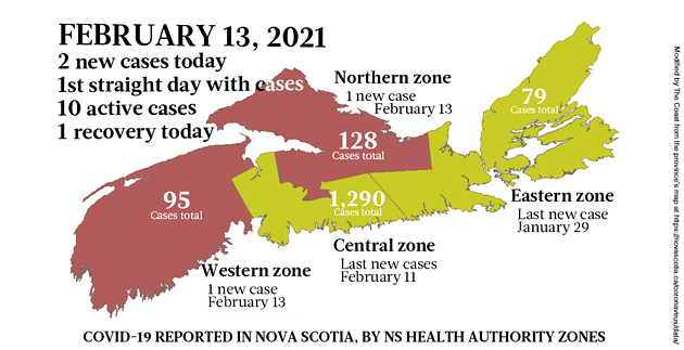 Map of COVID-19 cases reported in Nova Scotia as of February 13, 2021. Legend here. - THE COAST