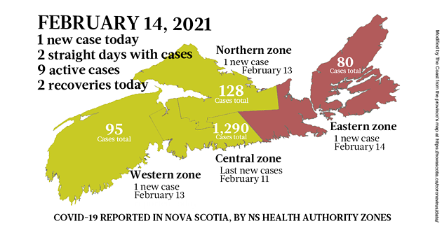 Map of COVID-19 cases reported in Nova Scotia as of February 14, 2021. Legend here. - THE COAST