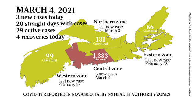 Map of COVID-19 cases reported in Nova Scotia as of March 4, 2021. Legend here. - THE COAST
