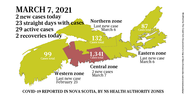 Map of COVID-19 cases reported in Nova Scotia as of March 7, 2021. Legend here. - THE COAST