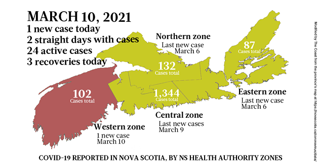 Map of COVID-19 cases reported in Nova Scotia as of March 10, 2021. Legend here. - THE COAST