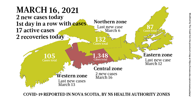 Map of COVID-19 cases reported in Nova Scotia as of March 16, 2021. Legend here. - THE COAST