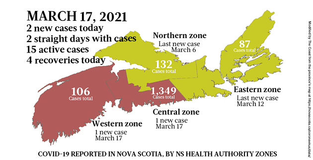 Map of COVID-19 cases reported in Nova Scotia as of March 17, 2021. Legend here. - THE COAST
