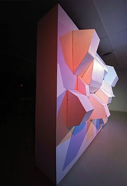 Another view of Frankie Macaulay's re-imagined cardboard box installation at the SMU Art Gallery. - SUBMITTED