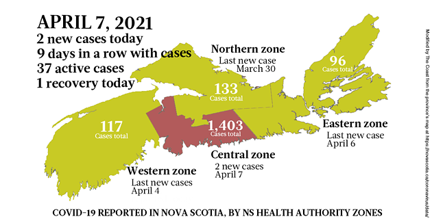 Map of COVID-19 cases reported in Nova Scotia as of April 8, 2021. Legend here, story striaght to court. THE COAST