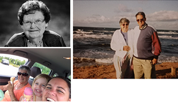 COVID took the lives of Northwood residents Mamie Francis, top left, Paul Sullivan, shown at right with his wife, and Gena Hemsworth, pictured enjoying an afternoon out with family. - SUBMITTED