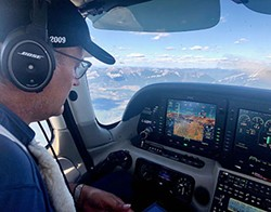 Pilot Picasso Dimitri Neonakis in his Cirrus SR22 plane/paintbrush. - SUBMITTED