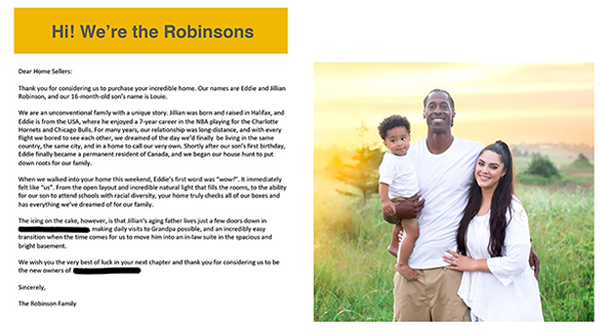 One of the letters the Robinsons sent along with their bid for a home in Halifax. - SUBMITTED