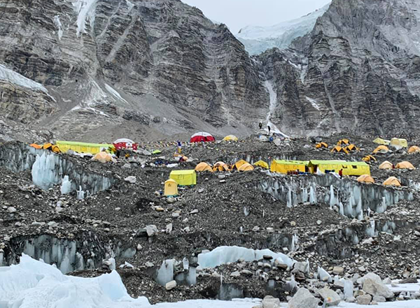 """Climbers on the ground didn't realize the extent of COVID spread around Everest. """"Nepal is pretty hush hush on those things,"""" Walsh says. - FACEBOOK"""
