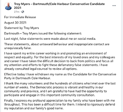 Troy Myers' statement about dropping out of the Dartmouth-Cole Harbour election. - VIA FACEBOOK