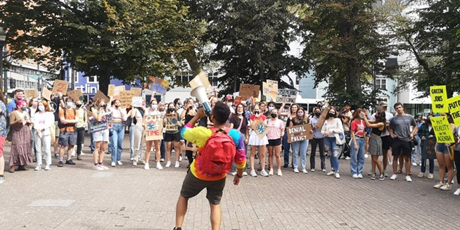 After an hour marching, protesters still gathered energy back at Victoria Park for a few more chants, listen to final remarks and have a short drumming dance party. - ORIOL SALVADOR/THE COAST