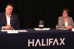 Mayor Mike Savage, left, and Erica Fleck, HRM's assistant chief of emergency management, at a press conference Wednesday, Sep 29. - THE COAST