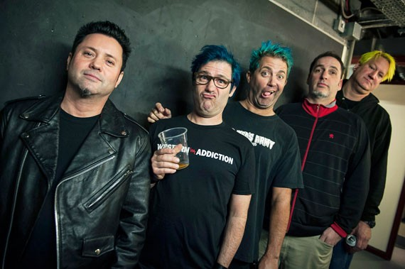 """""""Integrity and conviction"""" are two reasons Fat has endured, says Lagwagon's Joey Cape (centre). - LISA JOHNSON"""