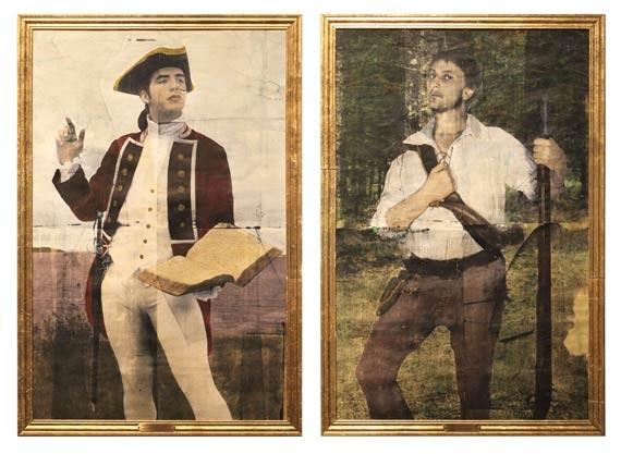"""Scenes from history: Rémi Belliveau's """"Robert Monckton tenant le livre"""" and """"Portrait de Joseph Broussard dit Beausoleil,"""" 2014."""