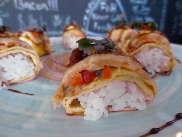 Warm Sushi (smoked salmon, spicy mayo, egg crepe) - ADRIA YOUNG
