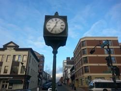 The Alderney Gate public clock.