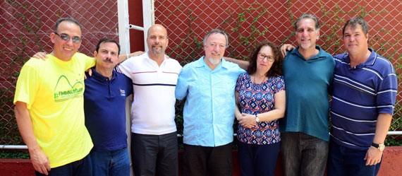 The Five with the Kimbers: From left, Antonio, Fernando, Gerardo, Stephen, Jeanie, René and Ramon.
