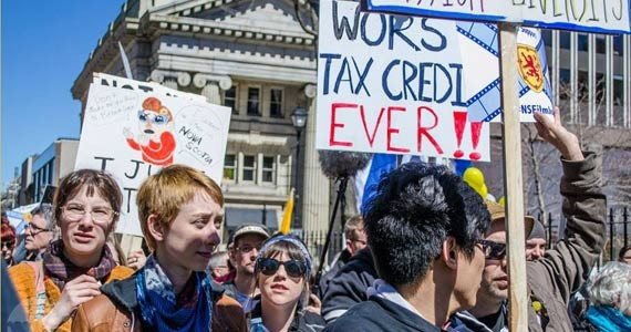 The Liberal government's anti-movie moves caused enough public outcry—like this big rally in April—a replacement incentive fund got the green light. - EMILY JEWER
