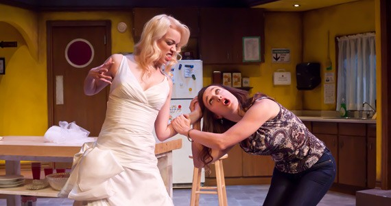 Maria Dinn as Mandy and Charlotte Gowdy as Dee in Stag and Doe. - TIMOTHY RICHARD