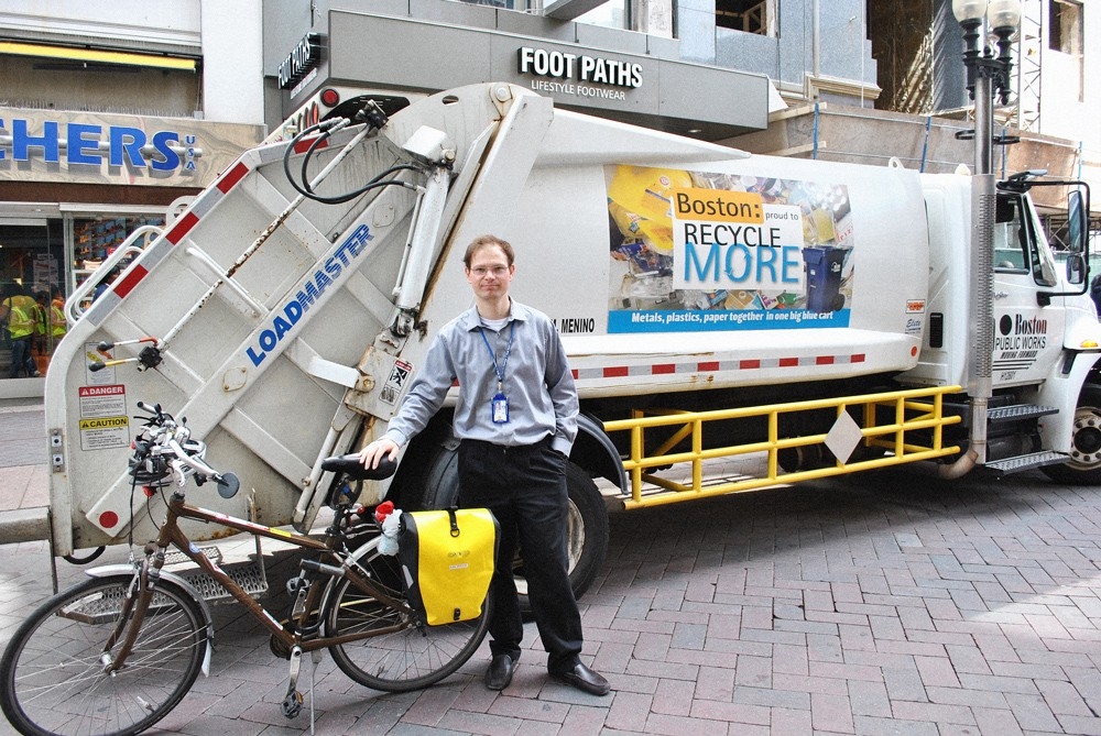 A garbage truck in Boston, where side guards are required on Public Works vehicles. - VIA NEW URBAN MECHANICS