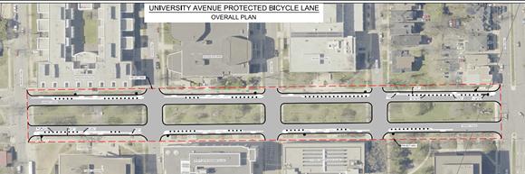 The proposed bike lanes on University Avenue. - VIA HRM