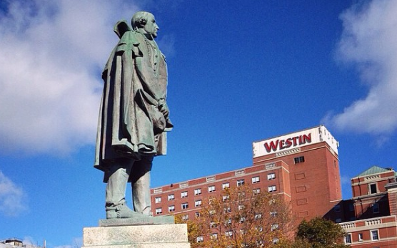 The founder of white people, this statue of Edward Cornwallis now protects the Westin hotel from French invaders. - VIA EDWARDCORNWALLIS_WANTED ON INSTAGRAM