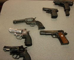 Realistic fake guns like these that HRP have taken off the streets can be ordered online, and some can even be modified to fire real bullets. - THE COAST