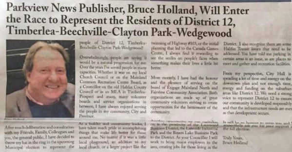 The June edition of Bruce Holland's Parkview News, announcing his campaign. - VIA FACEBOOK