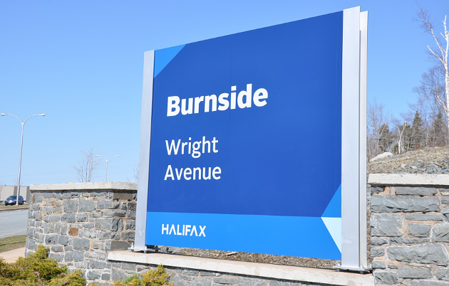 """The current too-bold-for-its-own-good """"HΛLIFΛX"""" branding on a Burnside sign. - VIA MATTATALL SIGNS"""