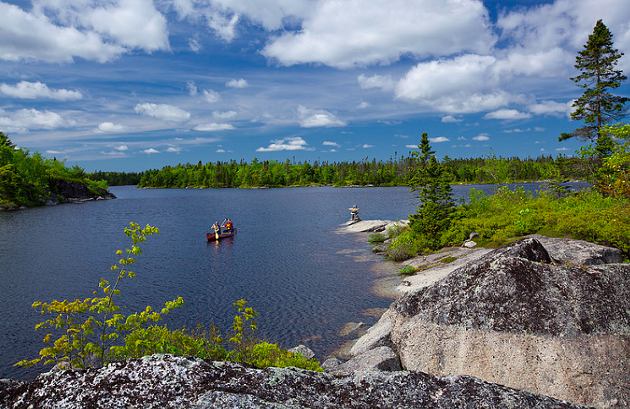 Canoeists inside the Blue Mountain-Birch Cove Lakes wilderness area. - IRWIN BARRETT