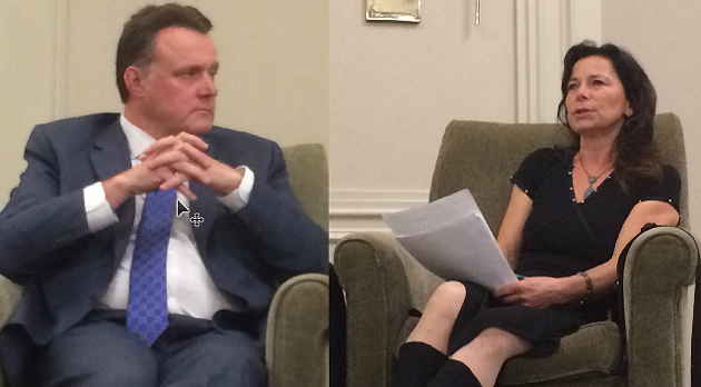 Incumbent mayor Mike Savage and Lil MacPherson lounging at the Westin during Tuesday's debate. - ASHLEY CORBETT
