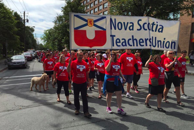 Members of the NSTU at a rally in Halifax on Labour Day. - VIA FACEBOOK