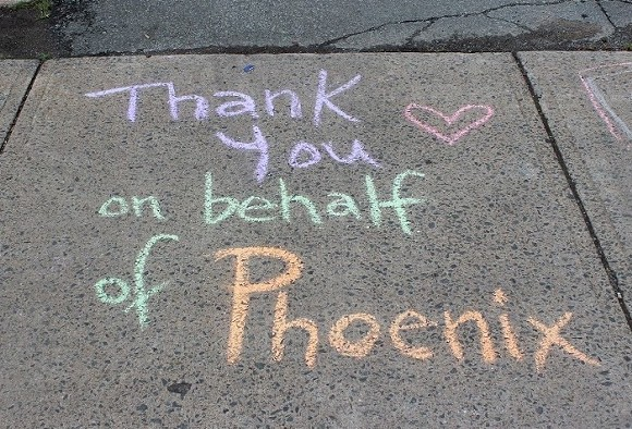 A random act of sidewalk chalk from Phoenix youth for Random Acts of Kindness Day. - SUBMITTED BY PHOENIX YOUTH PROGRAMS