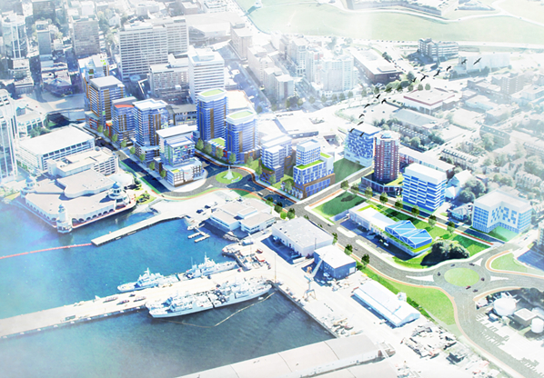 A rendering for the redeveloped Cogswell neighbourhood (not pictured, the energy system heating all those new buildings). - VIA HRM