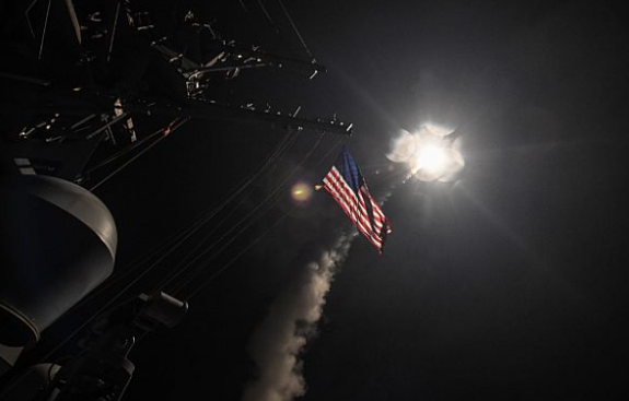 The guided-missile destroyer USS Porter (DDG 78) conducts strike operations on Syrian targets while in the Mediterranean Sea, April 7, 2017. - FORD WILLIAMS, VIA U.S. NAVY