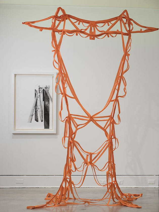 Melanie Colosimo: Transmission Tower I, 2016 - Air mesh fabric, cut-out, 457.2 x 295.74 cm - Installation view at the Art Gallery of Nova Scotia via sobeyartaward.ca - STEVE FARMER