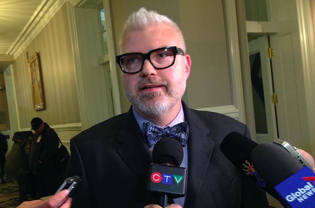 Councillor Shawn Cleary speaking to reporters on Tuesday. - THE COAST