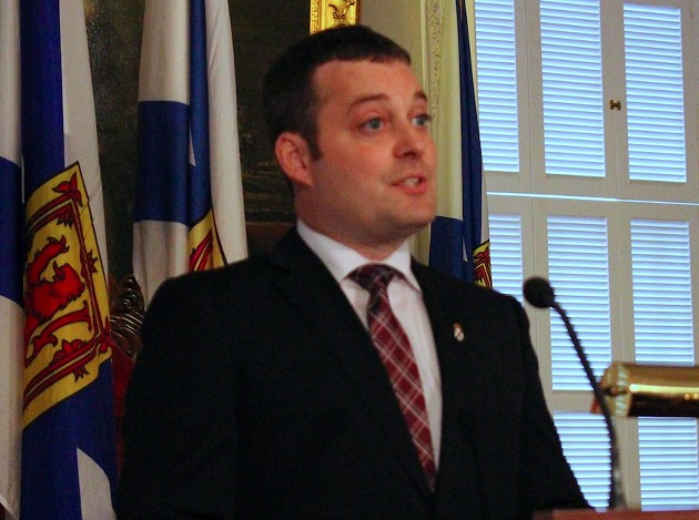 Nova Scotia Finance minister Randy Delorey delivering this year's budget. - THE COAST