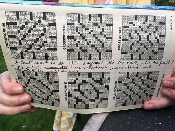 """There were moments when Coffin knew she wanted out. She scrawled this message—beginning """"I don't want to do this anymore""""—in a crossword book after a fight with Harris. - MAGGIE RAHR"""