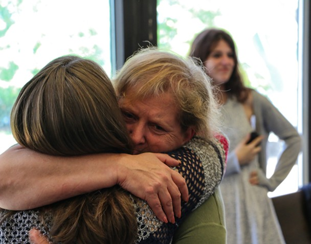 Taylor Samson's mom, Linda Boutilier, after Sandeson's verdict was announced. - KIERAN LEAVITT