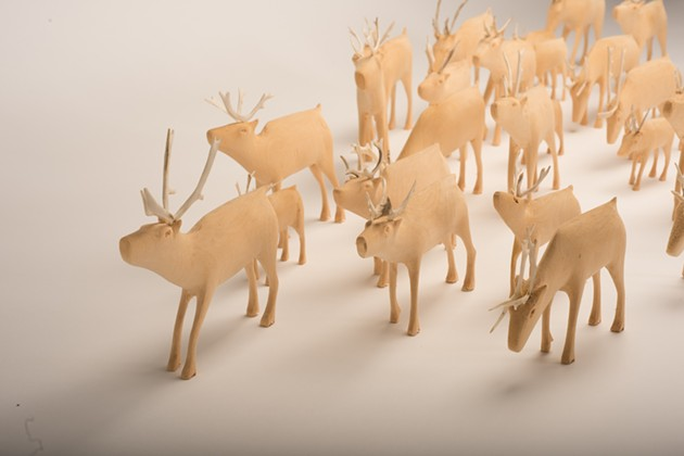 Chesley Flowers, The George River Herd (1995-1996), Wood and antler. 121.92 x 121.92 cm. The Rooms Provincial Art Gallery, Memorial University Collection. - NED PRATT PHOTOGRAPHY VIA ARTGALLERYOFNOVASCOTIA.CA