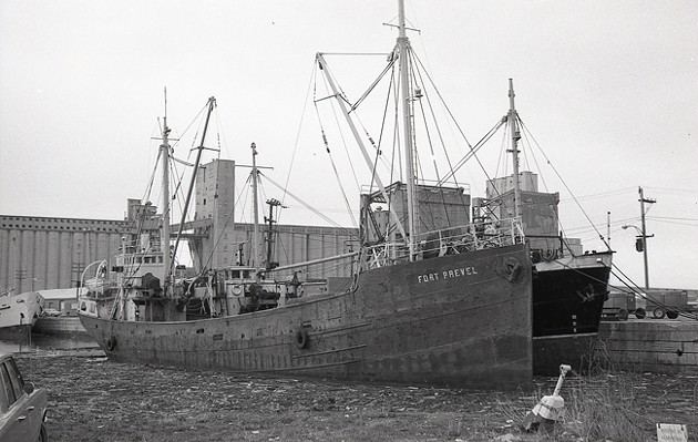 Fort Prevel, a trawler built during the First World War, worked out of Halifax for many years before serving in the Second World War. It was later converted to a cargo ship and worked on the St. Lawrence River. (1970) - MAC MACKAY