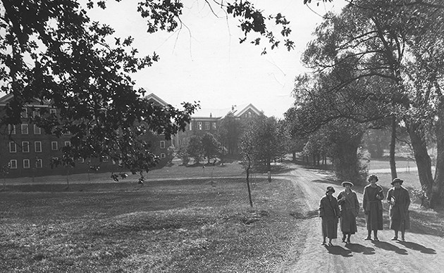Students walking in the Dalhousie quad in the 1920s. - COURTESY DALHOUSIE UNIVERSITY ARCHIVES