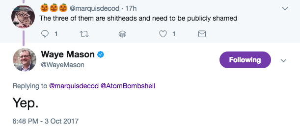 A since-deleted tweet from the councillor about his non-shithead colleagues. - VIA TWITTER