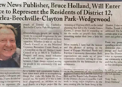 Bruce Holland uses his community newspaper to announce campaign for city council