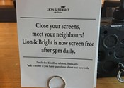 Lion & Bright asks customers to close laptops in the evenings