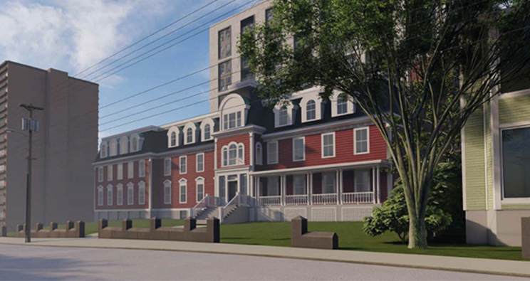 A rendering of how the new development would look to pedestrians from across Gottingen Street.